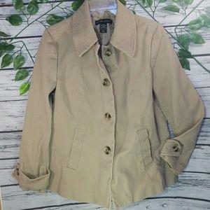 New York & Company denimbeige pea coat jacket Lg